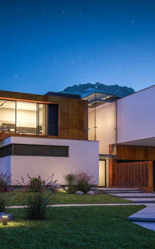 Custom designed unique house at night